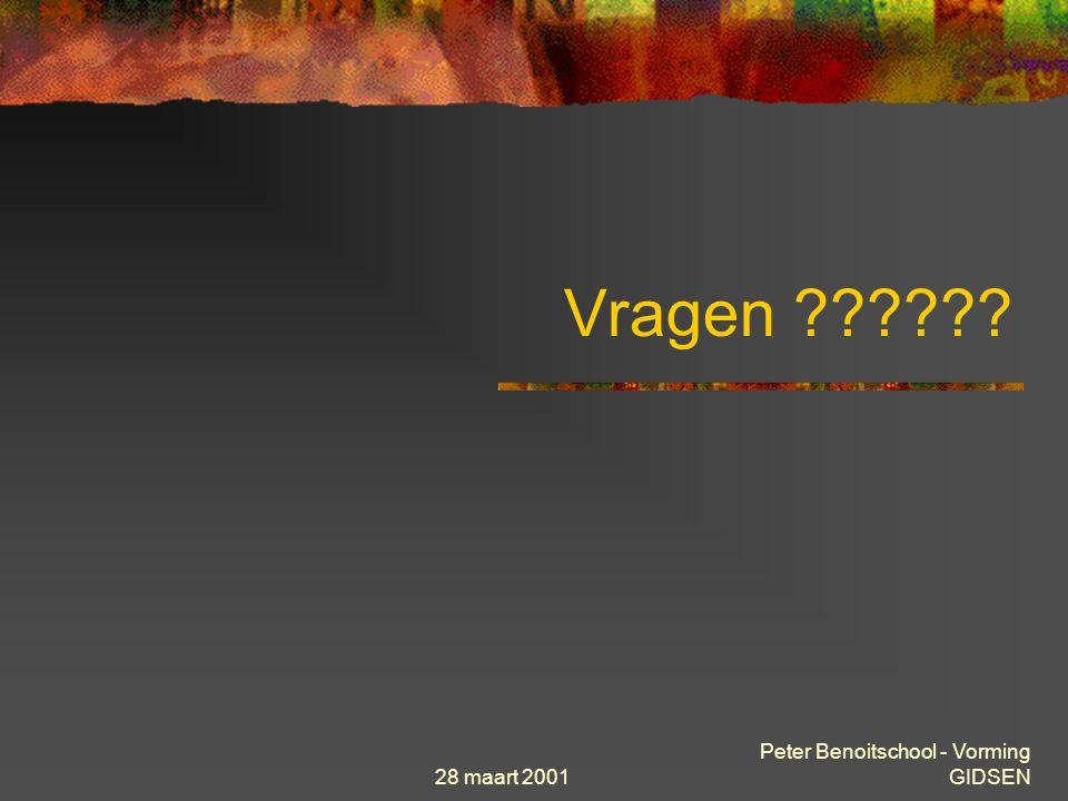 28 maart 2001 Peter Benoitschool - Vorming GIDSEN Programma Gidsen 21 maart. Historiek en ontstaan van Internet Enkele informaticatermen Theorie « sta