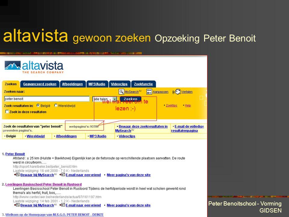 28 maart 2001 Peter Benoitschool - Vorming GIDSEN TrefwoordFunctie anchor:tekstZoekt pagina's waar het specifieke woord of de specifieke woordgroep voorkomen in de tekst van de hyperlink.