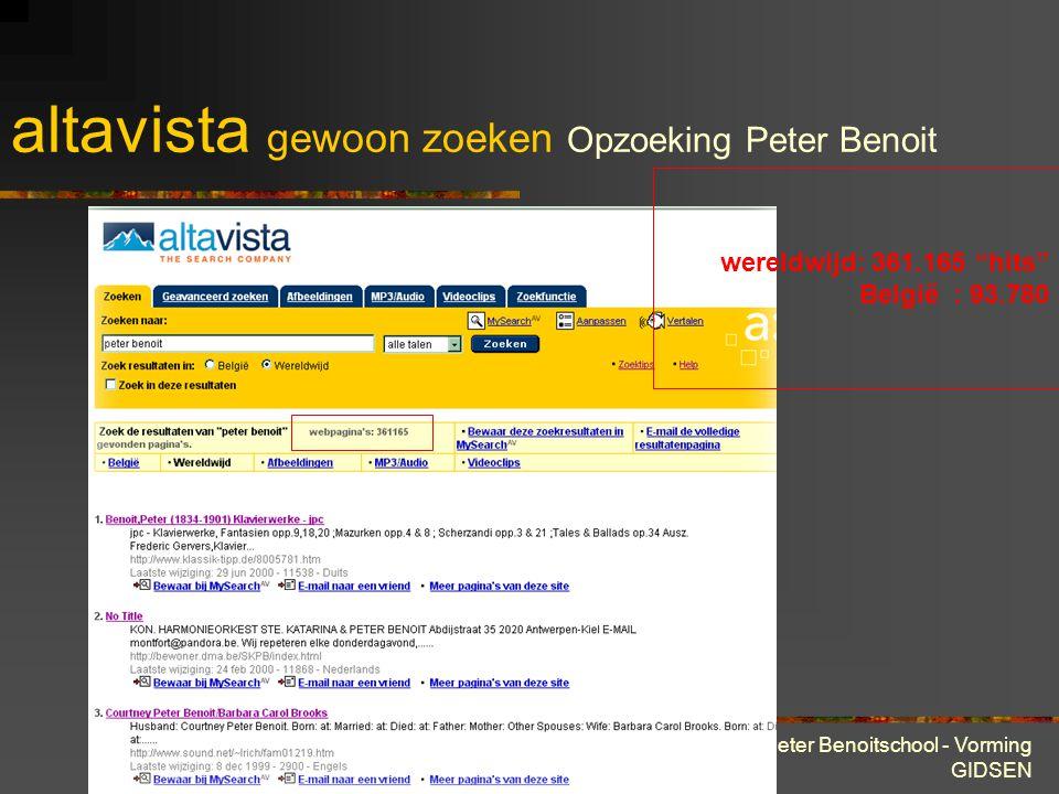28 maart 2001 Peter Benoitschool - Vorming GIDSEN altavista gewoon zoeken Opzoeking Peter Benoit wel wat veel om te lezen ;-)