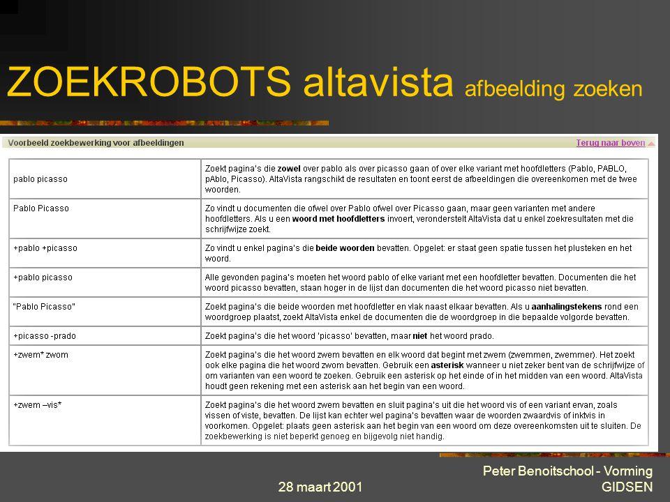 28 maart 2001 Peter Benoitschool - Vorming GIDSEN ZOEKROBOTS altavista afbeelding zoeken