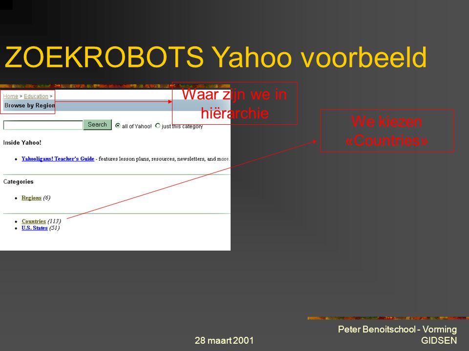 28 maart 2001 Peter Benoitschool - Vorming GIDSEN ZOEKROBOTS Yahoo voorbeeld Waar zijn we in hiërarchie Sub-categoriën We kiezen «Browse by region » (
