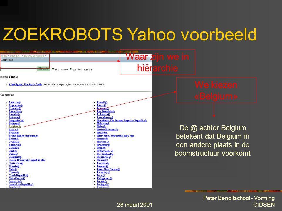 28 maart 2001 Peter Benoitschool - Vorming GIDSEN ZOEKROBOTS Yahoo voorbeeld Waar zijn we in hiërarchie We kiezen «Countries»