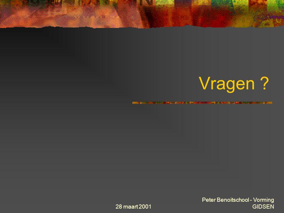 28 maart 2001 Peter Benoitschool - Vorming GIDSEN ZOEKROBOTS Yahoo voorbeeld Waar zijn we in hiërarchie We kiezen Brussels OnderwijsPunt (BOP) Brussel