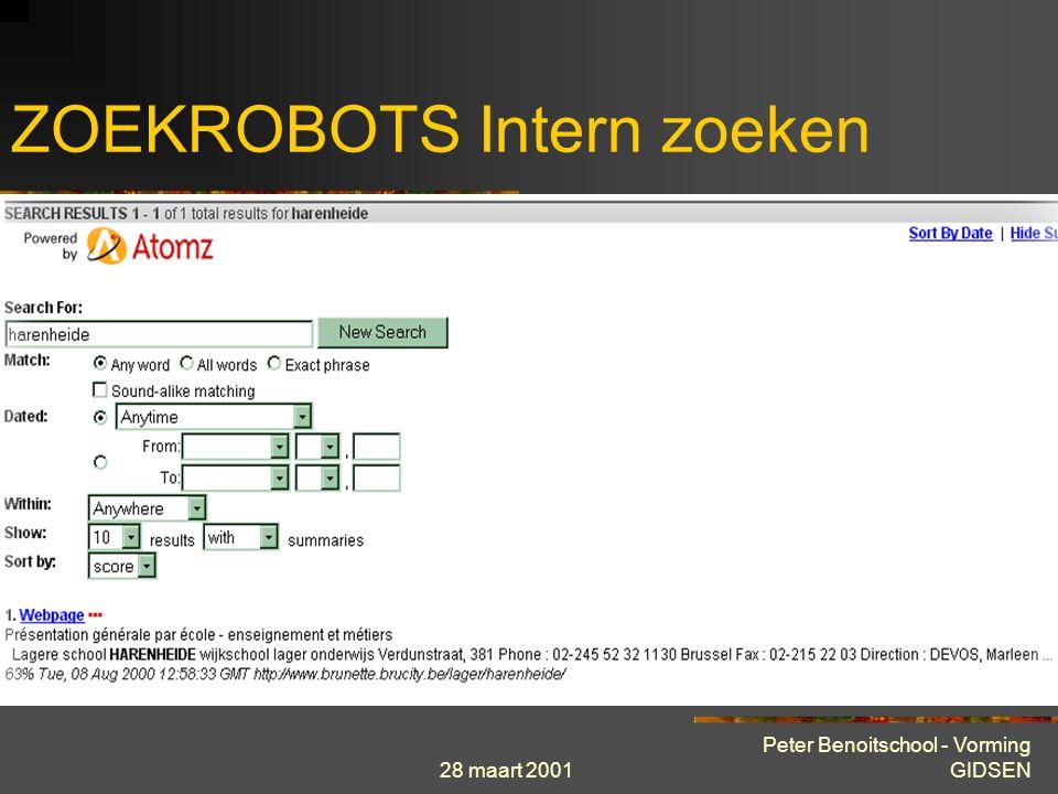 28 maart 2001 Peter Benoitschool - Vorming GIDSEN ZOEKROBOTS Intern zoeken Vele sites, ook BRUNETTE, hebben een zoekrobot die speurt naar informatie b