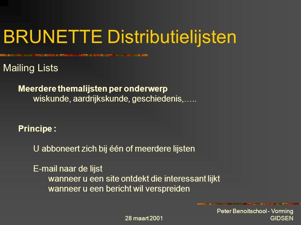 28 maart 2001 Peter Benoitschool - Vorming GIDSEN BRUNETTE Warm aanbevolen Klik hier om een URL to te voegen