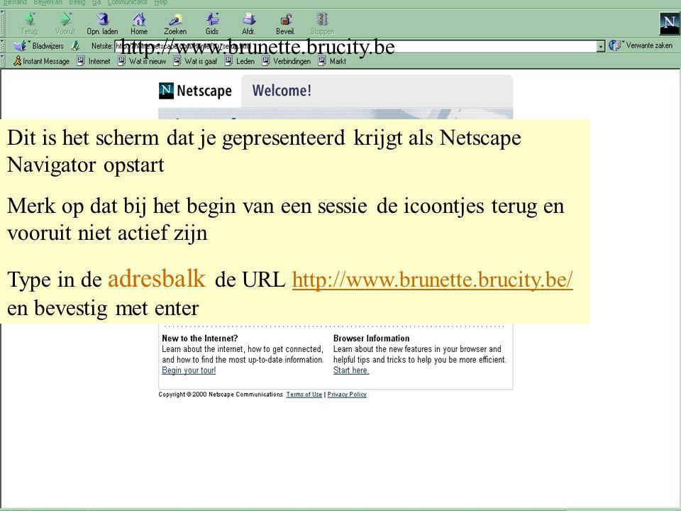 28 maart 2001 Peter Benoitschool - Vorming GIDSEN Netscape : browser onderdelen Gewoonlijk wordt Navigator automatisch geopend als u Communicator star