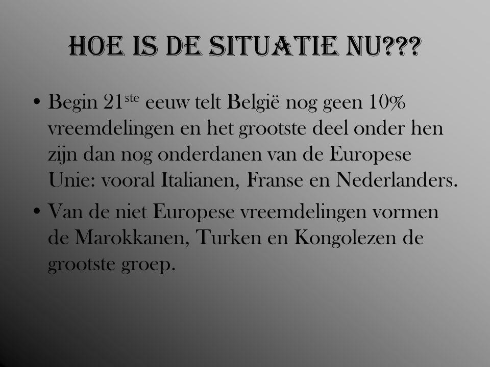 Hoe is de situatie nu??? Begin 21 ste eeuw telt België nog geen 10% vreemdelingen en het grootste deel onder hen zijn dan nog onderdanen van de Europe