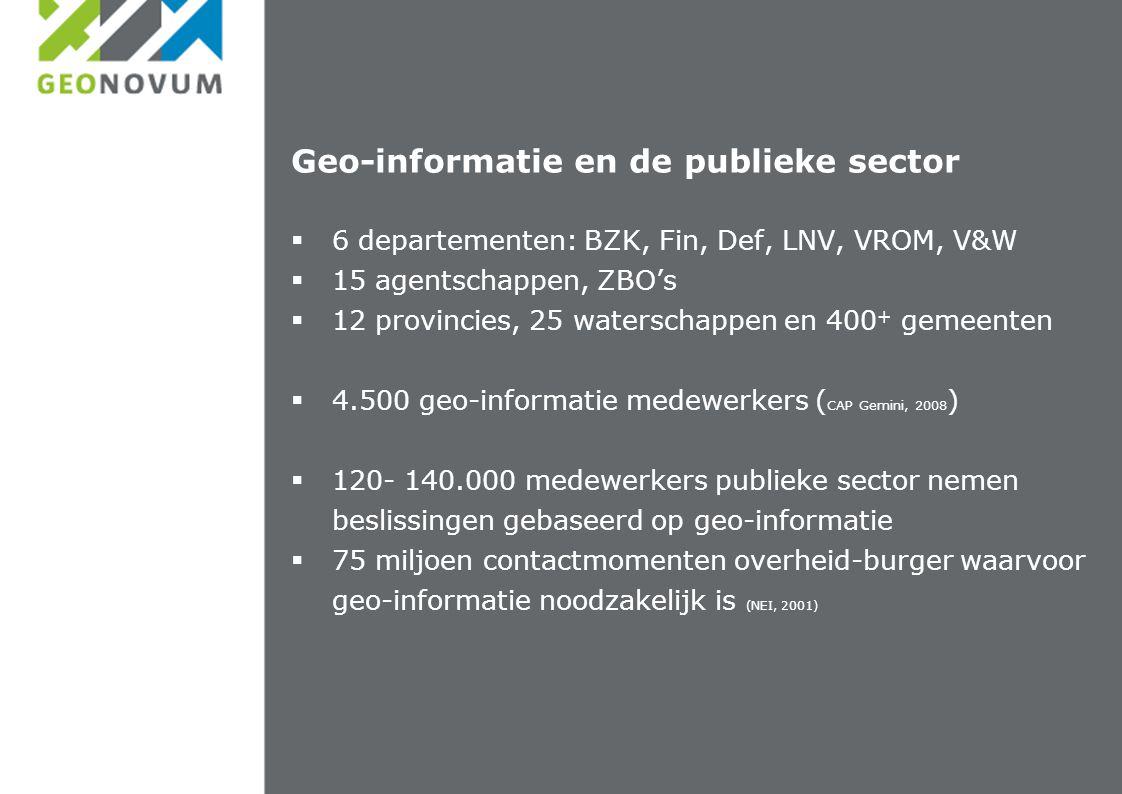 Geo-informatie en de publieke sector  6 departementen: BZK, Fin, Def, LNV, VROM, V&W  15 agentschappen, ZBO's  12 provincies, 25 waterschappen en 400 + gemeenten  4.500 geo-informatie medewerkers ( CAP Gemini, 2008 )  120- 140.000 medewerkers publieke sector nemen beslissingen gebaseerd op geo-informatie  75 miljoen contactmomenten overheid-burger waarvoor geo-informatie noodzakelijk is (NEI, 2001)