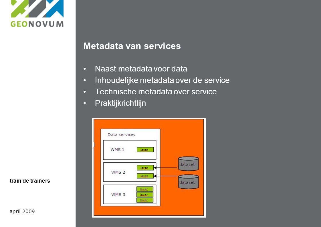 Standaarden van belang voor metadata Metadata voor data wordt volgens Het Nederlandse metadata profiel op ISO 19115 beschreven.