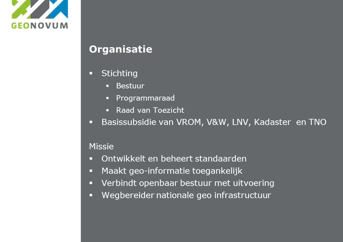 Organisatie  Stichting  Bestuur  Programmaraad  Raad van Toezicht  Basissubsidie van VROM, V&W, LNV, Kadaster en TNO Missie  Ontwikkelt en behee