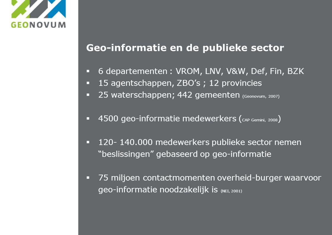 Geo-informatie en de publieke sector  6 departementen : VROM, LNV, V&W, Def, Fin, BZK  15 agentschappen, ZBO's ; 12 provincies  25 waterschappen; 442 gemeenten (Geonovum, 2007)  4500 geo-informatie medewerkers ( CAP Gemini, 2008 )  120- 140.000 medewerkers publieke sector nemen beslissingen gebaseerd op geo-informatie  75 miljoen contactmomenten overheid-burger waarvoor geo-informatie noodzakelijk is (NEI, 2001)