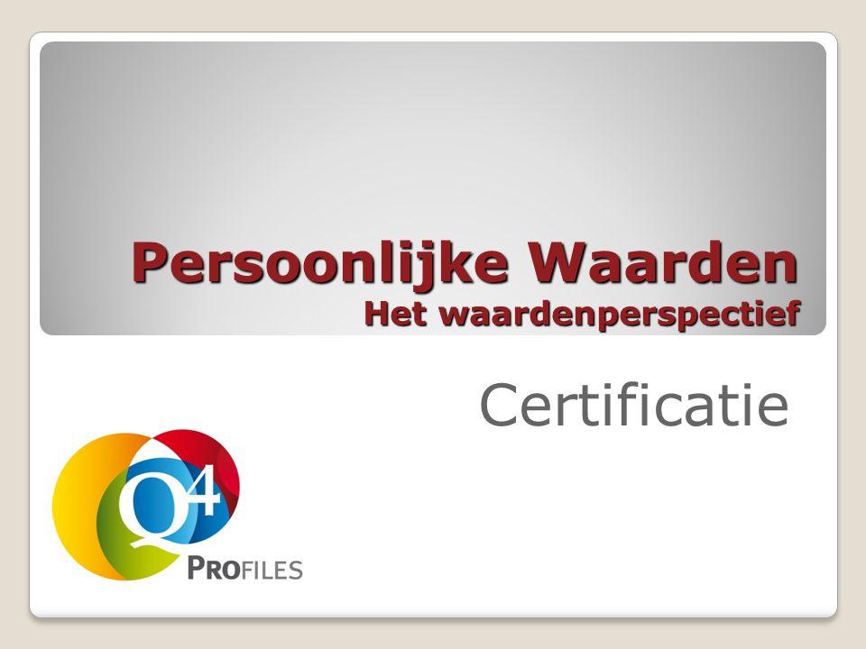 Persoonlijke Waarden Het waardenperspectief Certificatie