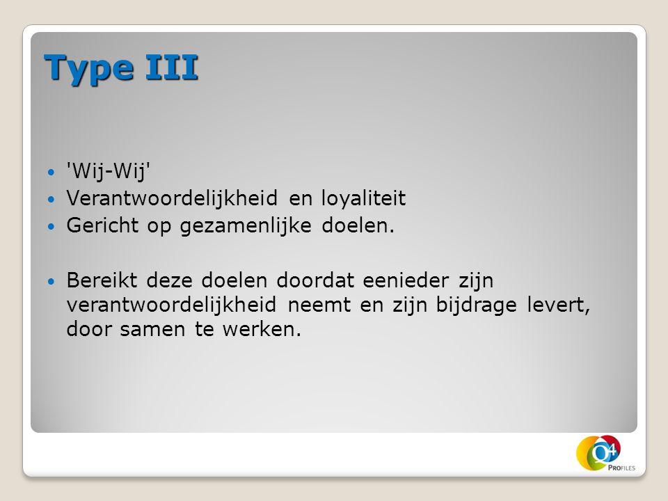 Type III 'Wij-Wij' Verantwoordelijkheid en loyaliteit Gericht op gezamenlijke doelen. Bereikt deze doelen doordat eenieder zijn verantwoordelijkheid n