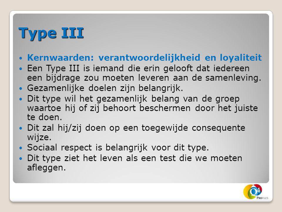 Type III Kernwaarden: verantwoordelijkheid en loyaliteit Een Type III is iemand die erin gelooft dat iedereen een bijdrage zou moeten leveren aan de s