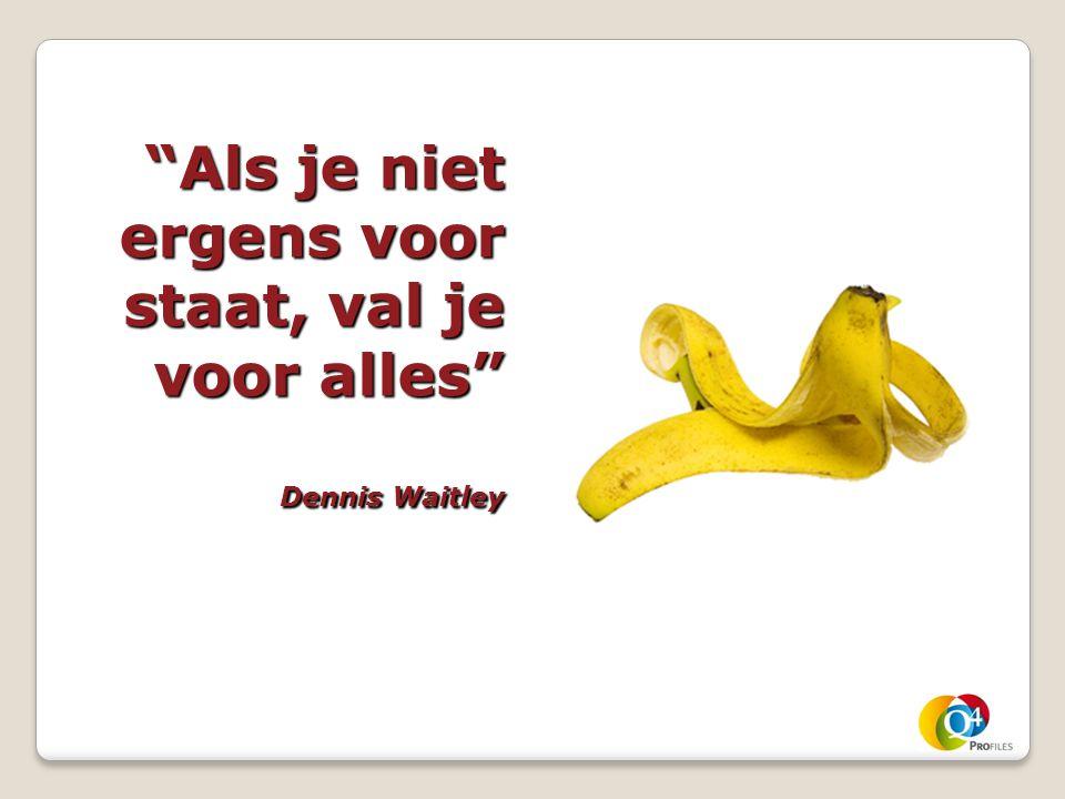 """""""Als je niet ergens voor staat, val je voor alles"""" Dennis Waitley"""