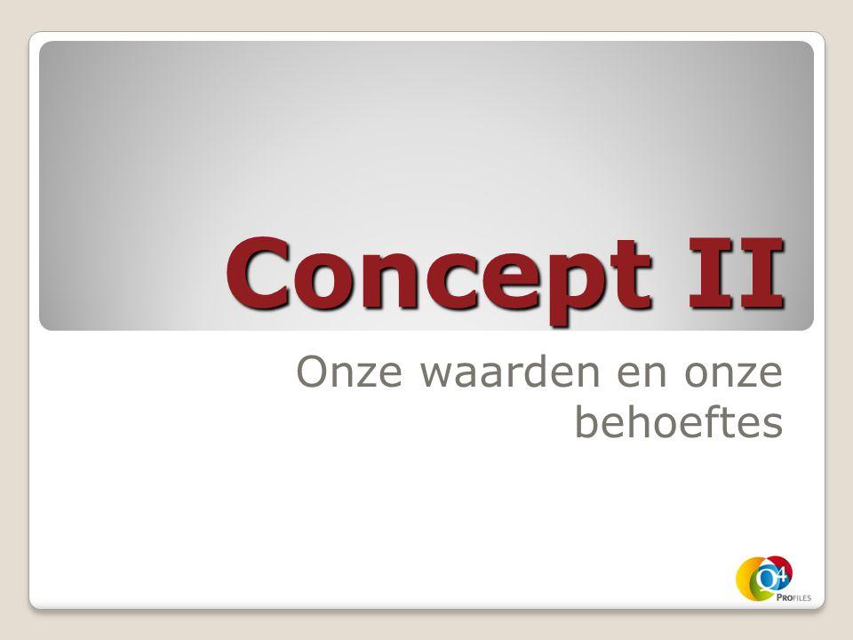 Concept II Onze waarden en onze behoeftes