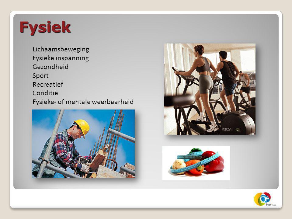 Fysiek Lichaamsbeweging Fysieke inspanning Gezondheid Sport Recreatief Conditie Fysieke- of mentale weerbaarheid