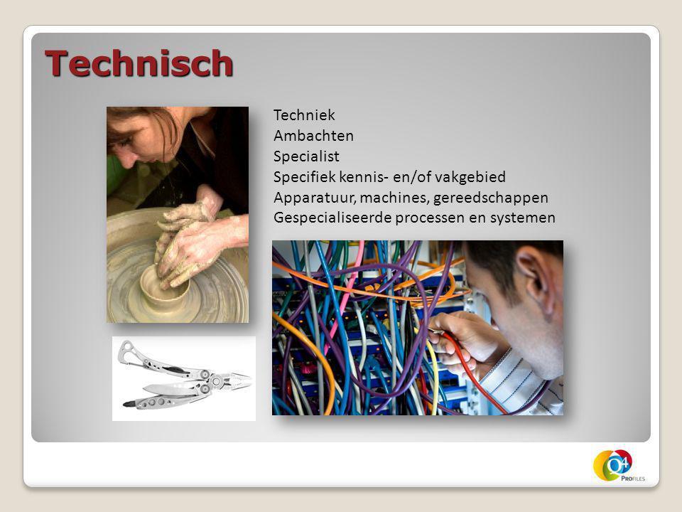 Technisch Techniek Ambachten Specialist Specifiek kennis- en/of vakgebied Apparatuur, machines, gereedschappen Gespecialiseerde processen en systemen