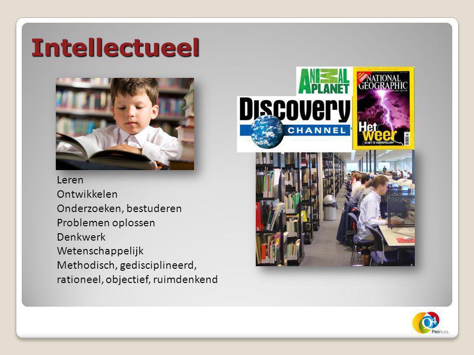 Intellectueel Leren Ontwikkelen Onderzoeken, bestuderen Problemen oplossen Denkwerk Wetenschappelijk Methodisch, gedisciplineerd, rationeel, objectief