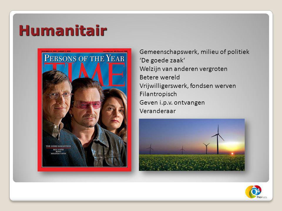 Humanitair Gemeenschapswerk, milieu of politiek 'De goede zaak' Welzijn van anderen vergroten Betere wereld Vrijwilligerswerk, fondsen werven Filantro