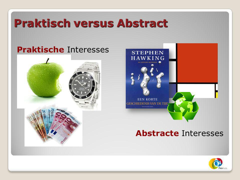 Praktisch versus Abstract Praktische Interesses Abstracte Interesses