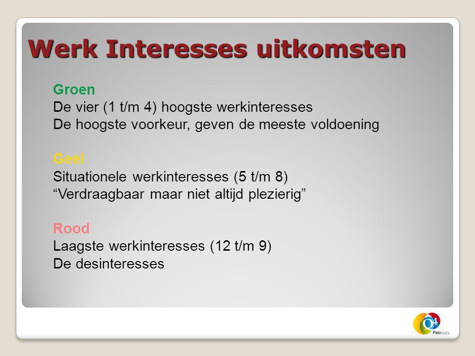 Werk Interesses uitkomsten Groen De vier (1 t/m 4) hoogste werkinteresses De hoogste voorkeur, geven de meeste voldoening Geel Situationele werkintere