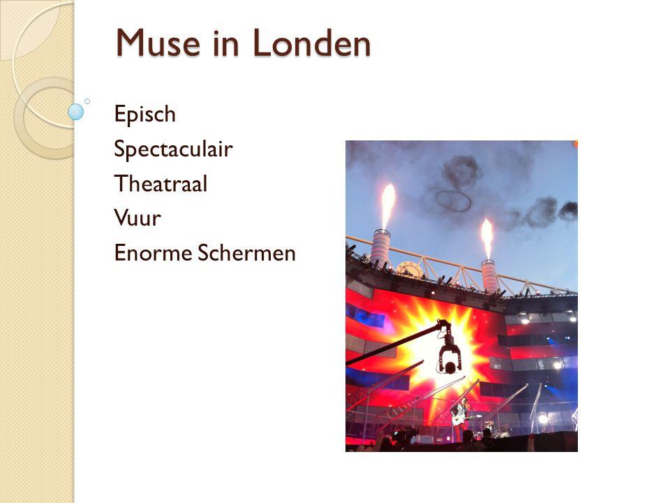 Muse in Londen Episch Spectaculair Theatraal Vuur Enorme Schermen