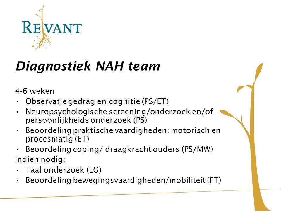 Diagnostiek NAH team 4-6 weken Observatie gedrag en cognitie (PS/ET) Neuropsychologische screening/onderzoek en/of persoonlijkheids onderzoek (PS) Beo
