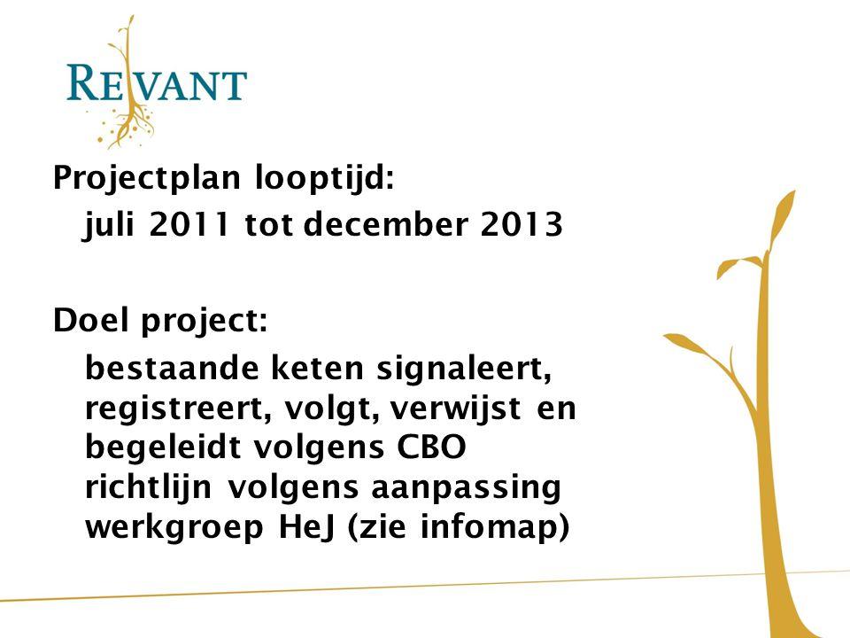 Projectplan looptijd: juli 2011 tot december 2013 Doel project: bestaande keten signaleert, registreert, volgt, verwijst en begeleidt volgens CBO rich