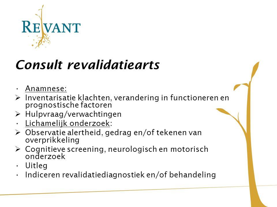 Consult revalidatiearts Anamnese:  Inventarisatie klachten, verandering in functioneren en prognostische factoren  Hulpvraag/verwachtingen Lichameli