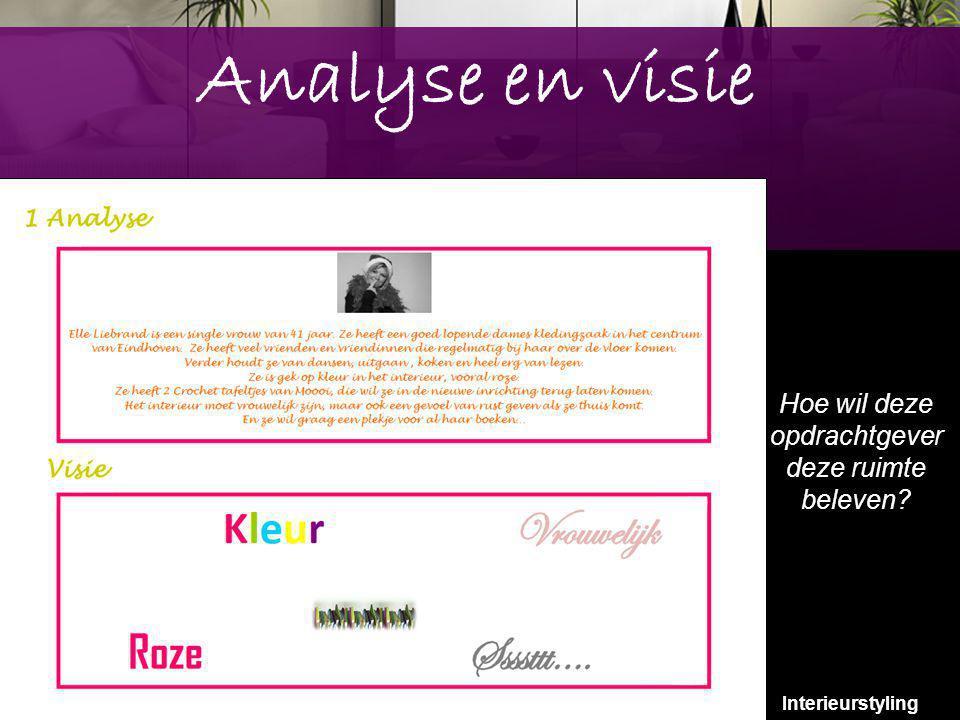 7 Analyse en visie Hoe wil deze opdrachtgever deze ruimte beleven? Interieurstyling