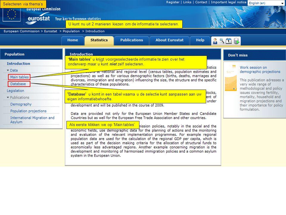 U kunt nu uit 2 manieren kiezen om de informatie te selecteren. 'Main tables' u krijgt voorgeselecteerde informatie te zien over het onderwerp maar u