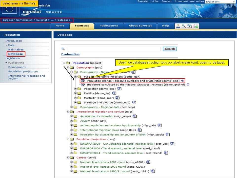 'Open' de database structuur tot u op tabel niveau komt, open nu de tabel. Selecteren via thema's