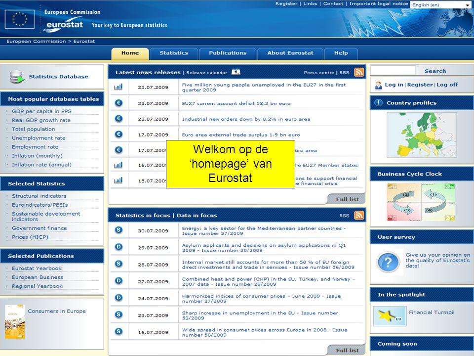 Welkom op de 'homepage' van Eurostat