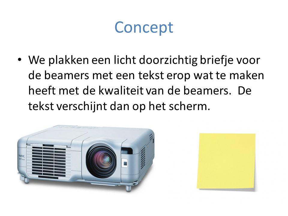 Concept We plakken een licht doorzichtig briefje voor de beamers met een tekst erop wat te maken heeft met de kwaliteit van de beamers.