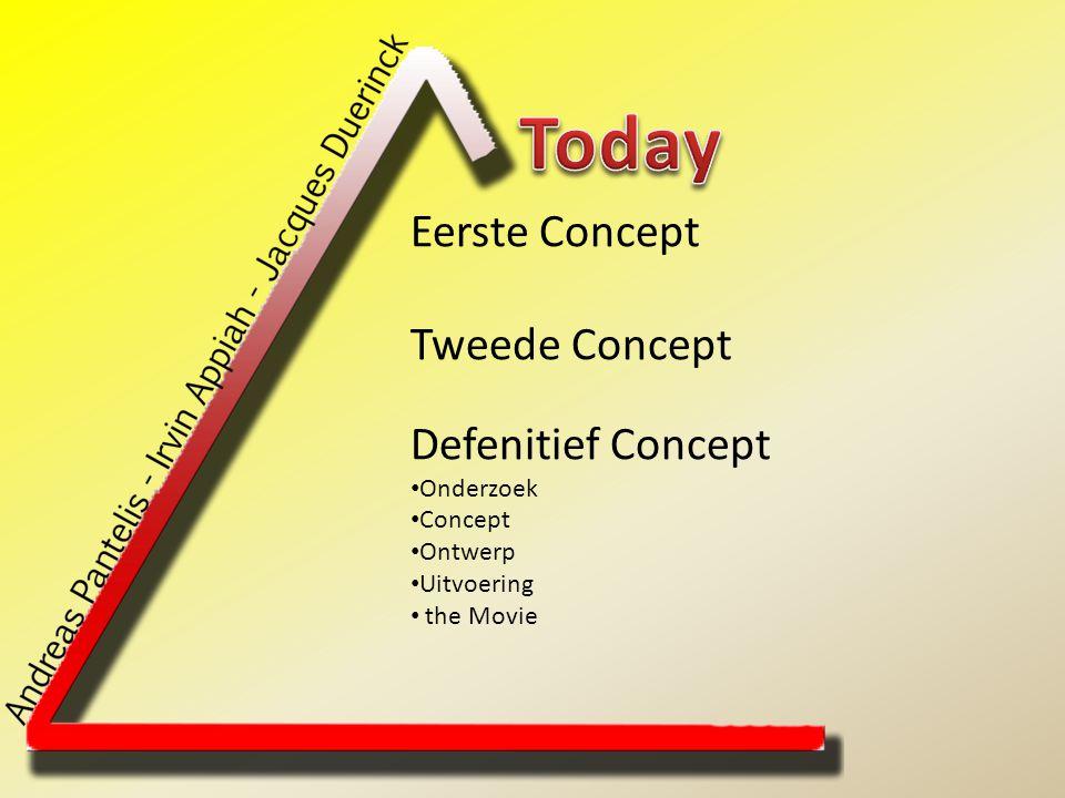 Eerste Concept Tweede Concept Defenitief Concept Onderzoek Concept Ontwerp Uitvoering the Movie