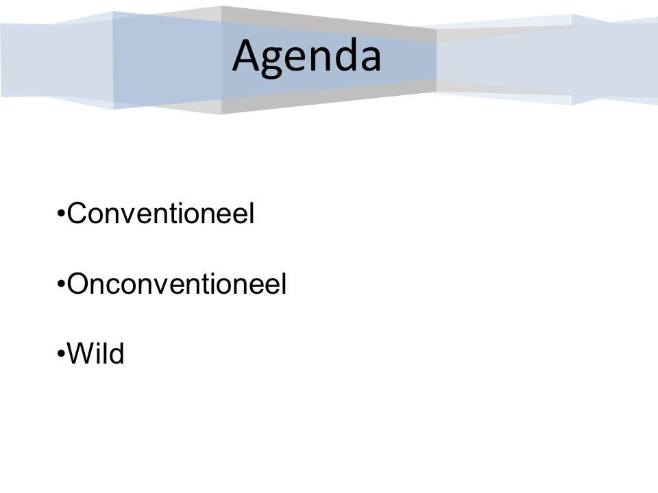 Agenda Conventioneel Onconventioneel Wild