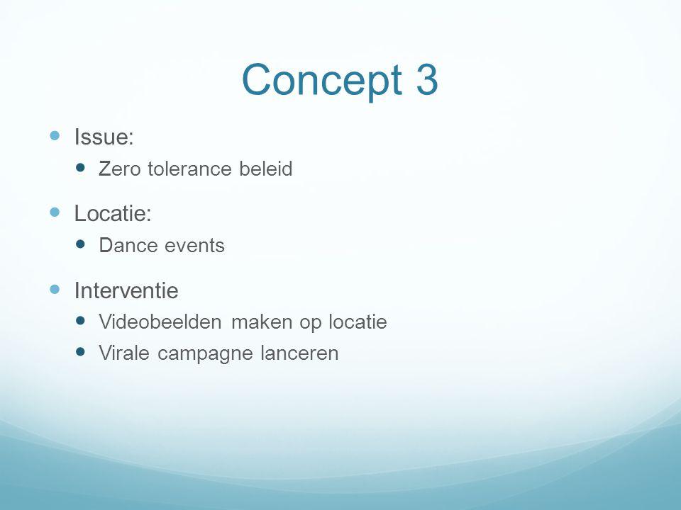 Concept 3 Issue: Zero tolerance beleid Locatie: Dance events Interventie Videobeelden maken op locatie Virale campagne lanceren