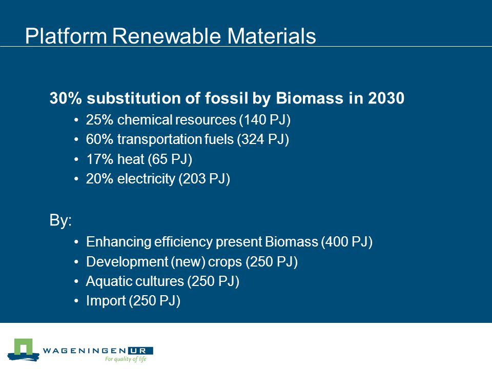 Many drivers for the Biobased Economy Shortage of cheap oil High energy prices Security of energy supply Climate change by green house gasses Rural development Developing countries Geo-political conditions Different countries/groups are confident however that a BbE can contribute to their goals.