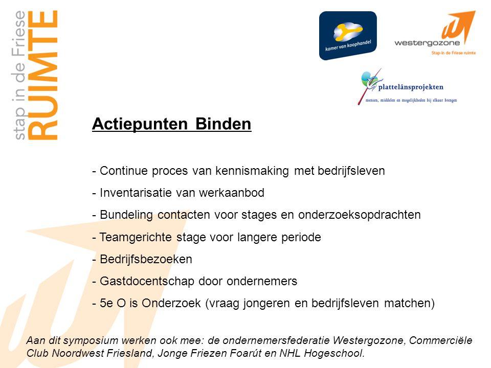 Aan dit symposium werken ook mee: de ondernemersfederatie Westergozone, Commerciële Club Noordwest Friesland, Jonge Friezen Foarút en NHL Hogeschool.