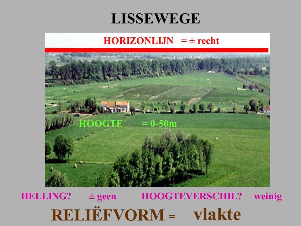 HORIZONLIJN= ± recht LISSEWEGE HOOGTE= 0-50m HELLING?± geen RELIËFVORM = vlakte HOOGTEVERSCHIL?weinig