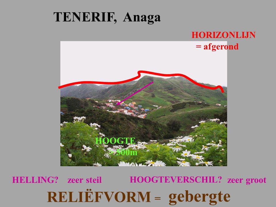 = afgerond TENERIF, Anaga HOOGTE > 500m zeer steil HOOGTEVERSCHIL? HELLING? RELIËFVORM = gebergte zeer groot HORIZONLIJN