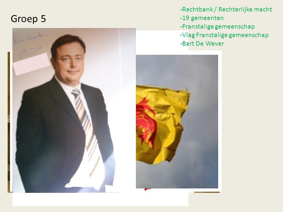… -Rechtbank / Rechterlijke macht -19 gemeenten -Franstalige gemeenschap -Vlag Franstalige gemeenschap -Bart De Wever