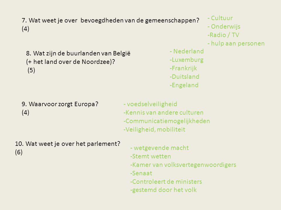 7. Wat weet je over bevoegdheden van de gemeenschappen? (4) - Cultuur - Onderwijs -Radio / TV - hulp aan personen 8. Wat zijn de buurlanden van België