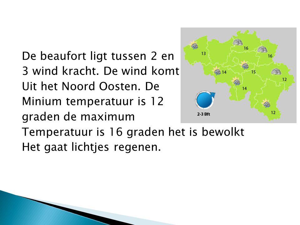 De beaufort ligt tussen 2 en 3 wind kracht. De wind komt Uit het Noord Oosten. De Minium temperatuur is 12 graden de maximum Temperatuur is 16 graden