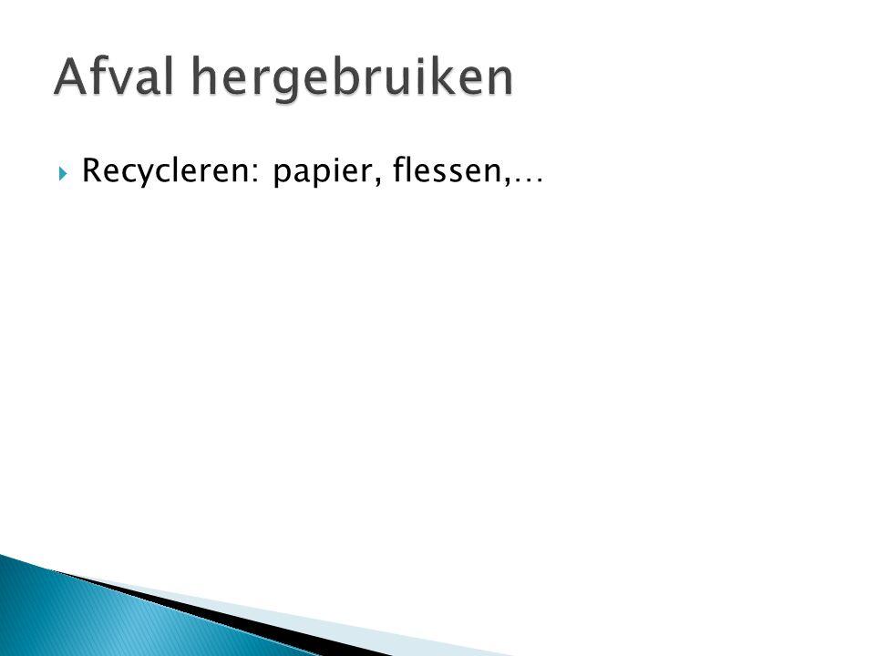  Recycleren: papier, flessen,…