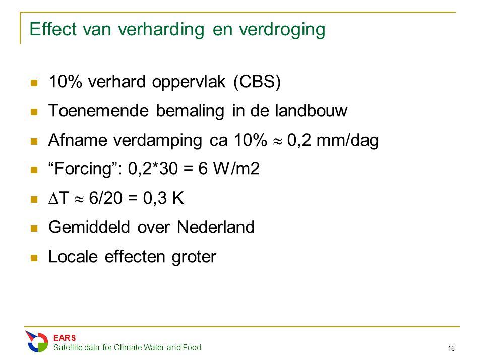 "Effect van verharding en verdroging 10% verhard oppervlak (CBS) Toenemende bemaling in de landbouw Afname verdamping ca 10%  0,2 mm/dag ""Forcing"": 0,"