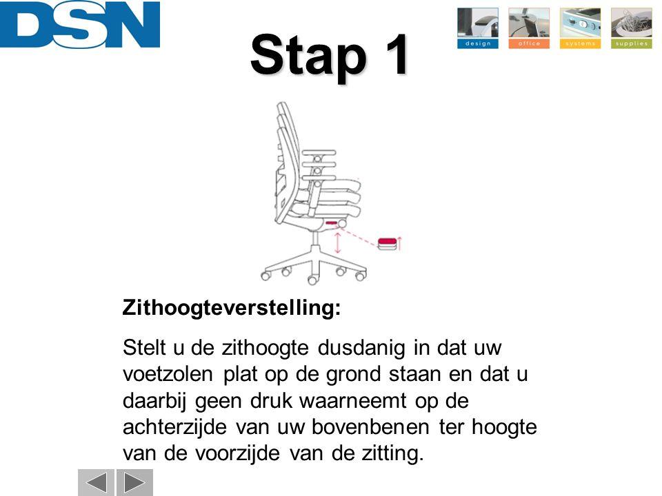 Stap 2 Gewichtsregulering + vastzetten van de rugleuning: Stel de tegendruk van de rugleuning in door het draaien van de knop (Afb.