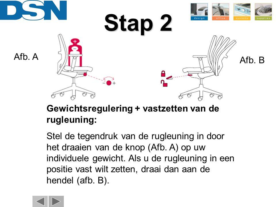 Stap 2 Gewichtsregulering + vastzetten van de rugleuning: Stel de tegendruk van de rugleuning in door het draaien van de knop (Afb. A) op uw individue