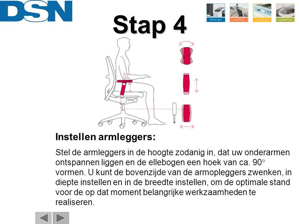 Instellen armleggers: Stel de armleggers in de hoogte zodanig in, dat uw onderarmen ontspannen liggen en de ellebogen een hoek van ca. 90  vormen. U